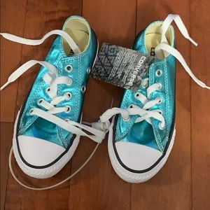 Brand new metallic blue converse KIDS